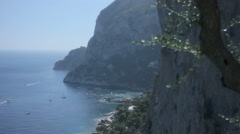 Seaside Cliffs Of Monte Castiglione Capri Italy - 25FPS PAL Stock Footage