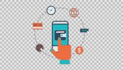 mobile payment - colored animation flat computer generated icons clips alpha - stock footage