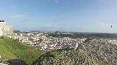 Top View in the Portuguese Town of Nazare Stock Footage