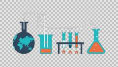 Marketing research - colored animation flat computer generated icons clips alpha Stock Footage