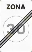 Road sign used in Spain - End Speed limit zone. Zona means zone Stock Illustration