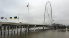 4K UltraHD Traffic moves over Margaret Hunt Bridge in Dallas Stock Footage