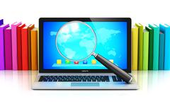 Laptop and magnifying glass in front of row of color books - stock illustration