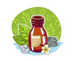 Jar with pill - stock illustration