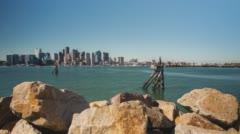 Boston Harbor Skyline Motion Time Lapse Stock Footage