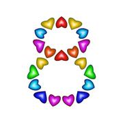 Number 8 made of multicolored hearts on white background - stock illustration