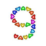 Number 9 made of multicolored hearts on white background - stock illustration