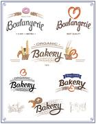 Vector logo set for Cafe or Shop with fresh bakery Piirros