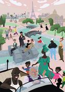 Paris in spring season Stock Illustration