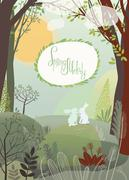 Rabbits in the spring forest Stock Illustration