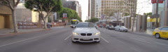 Rear view of a Driving Plate: Car travels on Figueroa Street in Los Angeles from Stock Footage