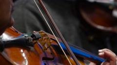 Close up of Violin Strings  in slow Motion Stock Footage