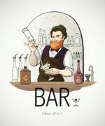 Stock Illustration of Barman in work