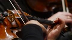 Strings of Violin  in slow Motion Stock Footage