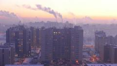 Intensely cold bedroom suburb house time lapse, cityscape skyline and smoke Stock Footage