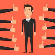 Hand with thumb up. Approval person Stock Illustration