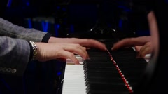 Stock Video Footage of close up of Hands on piano in slow Motion