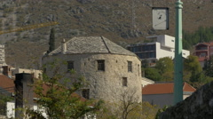 View of Tara tower of Stari Most in Mostar Stock Footage