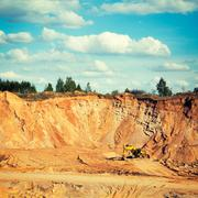 Excavator on a Sand Quarry Stock Photos