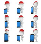 3d white business man with black cellphone Stock Illustration