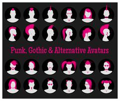 Anonymous Goth, Punk and Alternative Avatars Stock Illustration