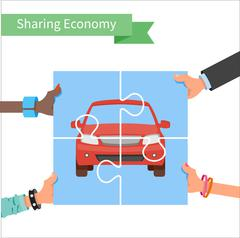 Car share concept. Sharing economy and collaborative consumption vector - stock illustration