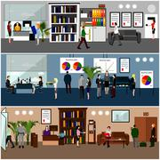 Flat design of business people or office workers. Presentation and meeting Stock Illustration