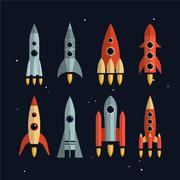 Space rockets vector icons set in flat style. Exploration and business start up Stock Illustration