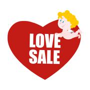 Stock Illustration of Sale Valentines day. Heart and Cupid. Logo for Valentines day special Discoun