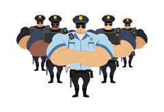 Strong Police to arrest. Police officers came to arrest criminals. Roth defen Stock Illustration