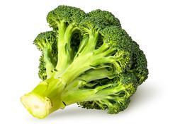 Large inflorescences of fresh broccoli bottom view Stock Photos