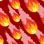 Meteor shower seamless pattern. Destruction of ornament. Fireball on red back Piirros