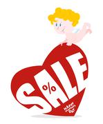 Cupid and large red heart with sale. Discounts for festive Valentines day. Fe Stock Illustration