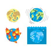 Apocalypse Types  end of world. Earth disasters. Set of catastrophes of Earth Stock Illustration