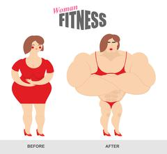 Womens fitness. Woman body before and after. Sports exercise and athletic fig - stock illustration