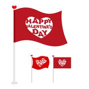 Red flag for Valentines day. Logo for holiday heart, Pierce arrow of Cupid. S Stock Illustration