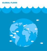 Flooding of planet Earth. World in water. Land under water. Ocean and fish. L Piirros