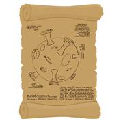 Ancient scroll with map of  moon. Old paper with Planet Moon. Antique parchme - stock illustration