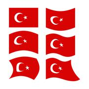 Flag of Turkey. Set  national flag of Turkish State. Developing red flag with - stock illustration