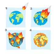 Fall  meteorite impact on Earth. An asteroid flies on planet. Hit ground, spl - stock illustration