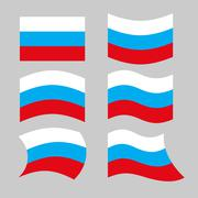 Flag Russia. Set of flags of Russian Federation in various forms. Developing  Stock Illustration