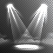 Two White Lights Beams Meet Banner - stock illustration