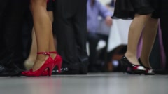 Dancing feet people at the wedding party. Dancer makes their steps 07 Stock Footage
