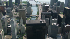 Looking down at the Chicago River among skyscrapers. Shot in 2003. Stock Footage