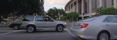 Left Side view of a Driving Plate: Car travels on Hope Street in Los Angeles at Stock Footage