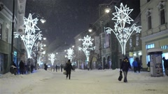 Groups of people walking on a city center street in a beautiful winter 62 Stock Footage