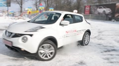 Car Nissan Drifting And Skidding On Winter Road Stock Footage