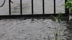 Spring heavy rain seen through the wrought iron gate of a house 24 Stock Footage