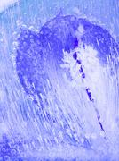 organic abstraction blue ice - stock photo