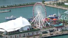 Orbiting Navy Pier amusement park in Chicago. Shot in 2003. Stock Footage